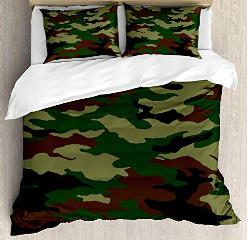 LIS HOME Camo Queen-Size-Bettbezug-Set, modische Graphic Uniform inspiriert Camouflage Design, dekorative 3-teiliges Bettwäscheset mit 2 Kissen Shams, Forest Green Pale Green Brown - Camouflage Kissen Sham