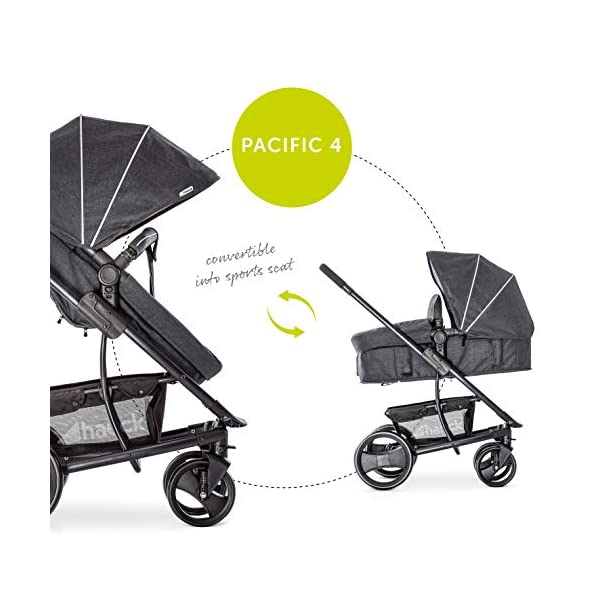 Hauck Pacific 4 Shop N Drive, Lightweight Pushchair Set with Group 0 Car Seat, Carrycot Convertible to Reversible Seat, Footmuff, Large Wheels, From Birth to 25 kg, Melange Charcoal Hauck  16