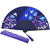 "Amajiji 8.27"" Chinease/Japanese Hand Held Silk Folding Fan With Bamboo Frame,Hollow Carve Patterns Bamboo Frame Women Hand Folding Fans Hand Fan Gift Fan Craft Fan Folding Fan Dance Fan (HBSY-24)"