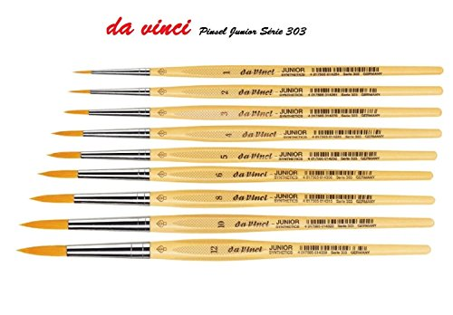 Da Vinci espace beaux arts Davinci GH303 Junior Synthetics Malerpinsel, rund Serie 303, Set 9 pcs, 1, 2, 3, 4, 5 6, 8,10,12