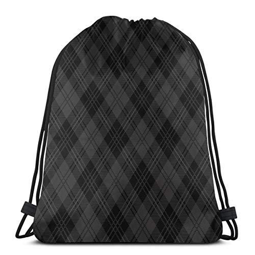 Nicegift Black Tartan Check Argyle 3D Print Drawstring Backpack Rucksack Shoulder Bags Gym Bag for Adult 16.9