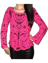 Dayiss® Damen Rosarot Sexy Bluse Seimi-transparant Ärmel Stickerei Floral Gehäkelt Süß T-Shirt Neu