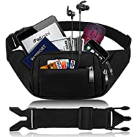 Black Bumbags and Fanny Packs for Women Men CAMORF Large Capacity Waist Pack 4 Pockets - Waterproof Running Belt Fits MAX 7.9'' iPad & 6.6'' Cellphone iPhone