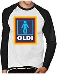 Coto7 OLDI Old Person Aldi Logo Mens Baseball Long Sleeved T-Shirt