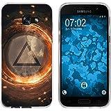 PhoneNatic Case für Samsung Galaxy A3 2017 Silikon-Hülle Element Feuer M3 Case Galaxy A3 2017 Tasche + 2 Schutzfolien