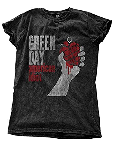 Green Day T Shirt American Idiot Logo officiel Femme Noir Skinny Fit Snow Wash