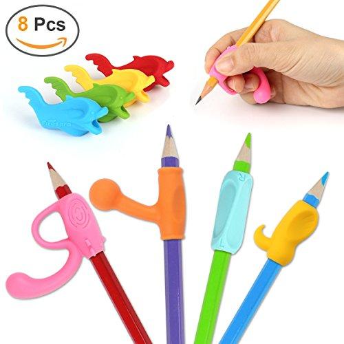 Bleistift Griffe, Firesara Original Ergonomische Stifthalter Claw Korrekte Handschrift Haltung in 4 Wochen für Kinder Kindergarten Erwachsene Spezielle Bedürfnisse Righties oder Lefties (8 PCS)