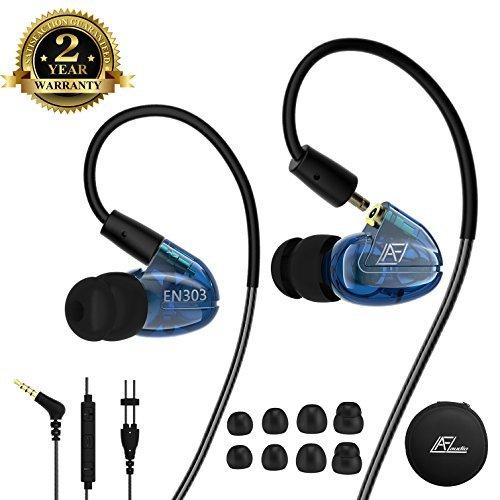 Kabelgebundene Ohrhörer In-Ear Heaphone mit Mikrofon, Ohrbügel abnehmbare Kabel Geräuschisolierende Ohrhörer, Sport-Ohrhörer für Jogging Gym Fitness Lauftraining Workout, iPhone iPod Samsung Blue