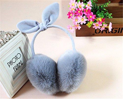 LONFENN Fiesta de cumpleaños Regalo de San Valentín Navidad Mujer Invierno cálido señoras Orejeras Chica Orejas de Conejo Oreja Oreja retráctil Bolsa de Peluche Lindo Arco,Azul Gris Día es s de