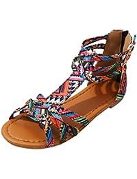 Zapatos Sandalias para elegante mujer,❤️ Sonnena Sandalias de Bohemia de las mujeres Sandalias de estilo étnico Pisos Zapatos Sandalias de correa de la hebilla