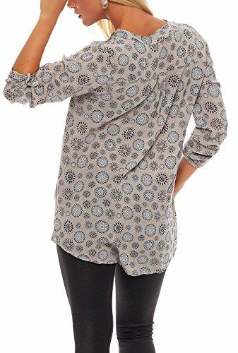 Malito Damen Bluse mit Print | Tunika mit ¾ Armen | Blusenshirt Auch Langarm Tragbar | Elegant