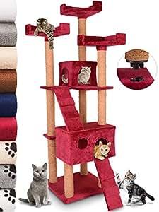 Leopet - Griffoir à chat Montage rapide Arbre à chat 173 cm Arbre de jeu pour chat Griffoir-grattoir à chat Meuble pour chat - Bordeaux