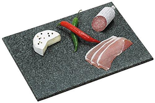 Servierplatte aus Granit, Oberfläche poliert, abgerundete Ecken und Kanten rutschfeste Füße, 38 x 28 cm, Stärke: 1,5 cm