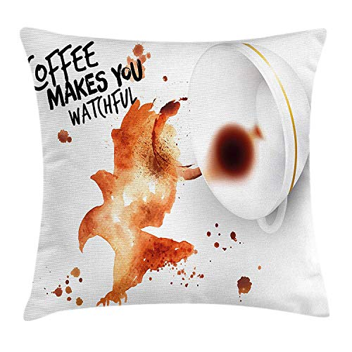 Coffee Art Throw Pillow Cushion Cover, Open Wings Eagle Strong Bird with Coffee Makes You Watchful Quote, Decorative Square Accent Pillow Case, 18 X 18 inches, Burnt Sienna Black White - Sienna Paisley