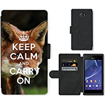 PU Cuir Flip Etui Portefeuille Coque Case Cover véritable Leather Housse Couvrir Couverture Fermeture Magnetique Silicone Support Carte Slots Protection Shell // Q01012834 keep calm and carry on 585 // Sony Xperia M2 D2303 D2305 D2306
