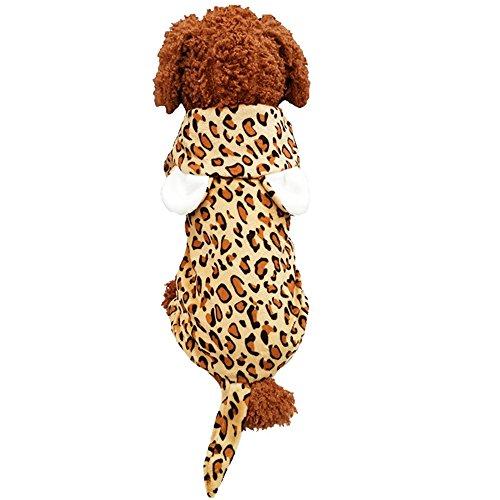 Leopard Print Halloween Hund Katze Kostüm Outfit Kleidung Winter Warm Fleece Hund Pet Hundemantel Jacke Hund Hoodie Jumpsuit (Leopard Dog Kostüm)