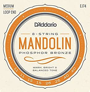 D'Addario Cordes pour mandoline D'Addario J74, bronze phosphoreux, Medium, 11-40