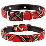 """Pet Palace® extrakleines Hundehalsband """"Scottie Dog"""", Kunstleder, für kleine Hunde/Welpen, Schottenkaro"""