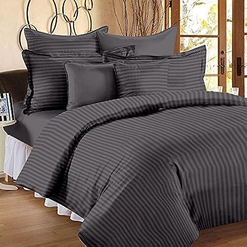 600Fadenzahl 6-Bettlaken-Set (Elefant grau Streifen, Euro Double IKEA Größe, Pocket Größe 30cm) 100% ägyptische Baumwolle Premium Qualität