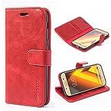 Mulbess Ledertasche im Ständer Book Case / Kartenfach für Samsung Galaxy A5 (2017) Tasche Hülle Leder Etui,Wine Rot
