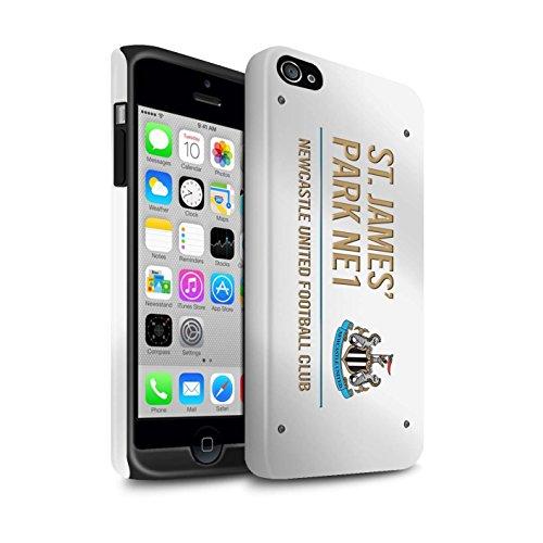 Officiel Newcastle United FC Coque / Matte Robuste Antichoc Etui pour Apple iPhone 4/4S / Pack 6pcs Design / St James Park Signe Collection Blanc/Or