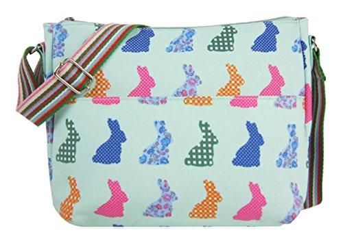 Kukubird Vari Animali E Disegno Fiore Multiuso Crossbody Spalla Top-manico Del Totalizzatore Turquoise Rabbit
