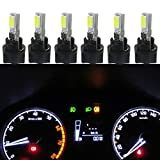 Wljh 6 pcs Blanc T5 73 74 2smd Chipsets 5730 CANBUS erreur LED gratuit Instrument Panel Light Gauge Cluster Tableau de bord lumières LED Ampoule avec ensemble de 6 pcs Twist Lock Socket