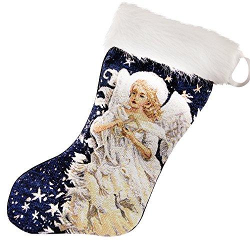 arelux Novelty LED Weihnachten Strümpfe | Glowing Weihnachtsbaum Socken | Glow in the Dark | hängende Dekoration Xmas | anspruchsvolles Stickerei | 48,3cm–Big Größe für mehr Geschenke angel