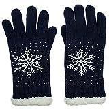 CASPAR GLV009 warm gefütterte Damen Strick Handschuhe mit gesticktem Eiskristall und dezentem Strass, Farbe:dunkelblau;Größe:One Size