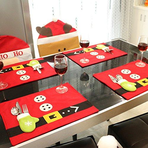THEE - Tovagliette natalizie decorative, per tavolo da pranzo, con tasca porta posate Rosso.