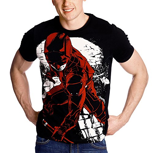 Camiseta de hombre de Daredevil Fight Full Size Marvel negro algodón - L