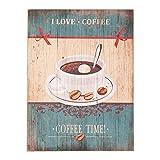 C&E Grosses Vintage Retro Dekoschild mit Spruch: I Love Coffee, Material Holz, Maße 30 x 40 cm, Creme und Blau Vintage