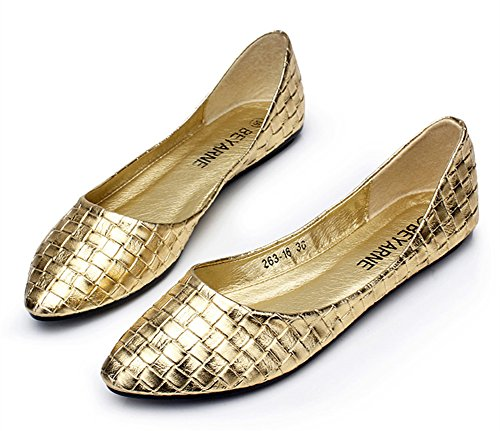 Aisun Damen Modisch Karo Lack Metallic Spitz Slipper Ballerinas Gold 41 EU