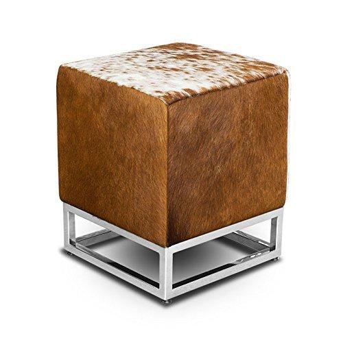 NEUERRAUM Kleiner schicker Würfel Kuhfell Bauhaus Echtleder Sitzhocker Beistellhocker Hocker Fußhocker 37 x 37 cm Sitzhöhe 45 cm. Abbildung echtes Kuhfell Braun-Weiß