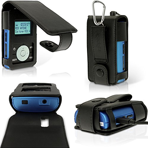igadgitz U4217 Flip PU Pelle Custodia Case Cover per Grundig Micro 75 DAB+ Radio Portatile con Pellicola - Nero
