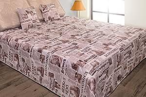 170x210 beige braun creme Tagesdecke Bettüberwurf Steppbettüberwurf mit 2 Kissenbezügen 40x40 Zeitung Newspaper Pop Art