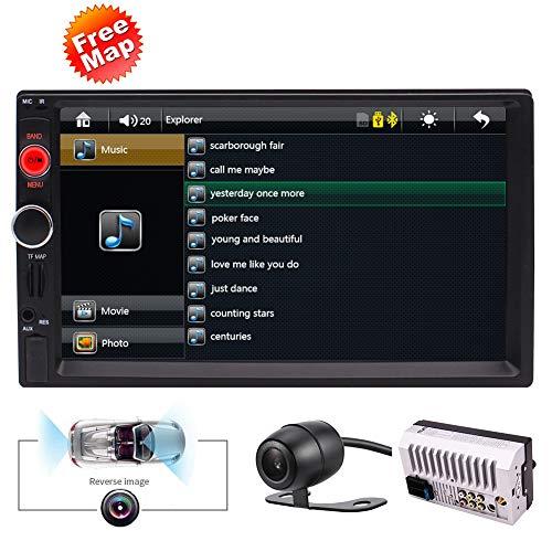 EINCAR Doppel-DIN-Autoradio-Empfänger mit GPS-Navigation 7 Zoll Digital-Touchscreen 2 DIN Bluetooth In-Dash Head Unit, FM/USB/SD, drahtlose Fernbedienung, Rückfahrkamera Keine CD/DVD
