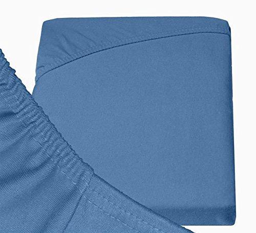 Double Jersey - Spannbettlaken 100% Baumwolle Jersey-Stretch bettlaken, Ultra Weich und Bügelfrei mit bis zu 30cm Stehghöhe, 160x200x30 Jeans Blau - 6