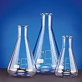 SCILABWARE 211910A Erlenmeyer 2000 mL, cristal de borosilicato, no de cuello estrecho bouché