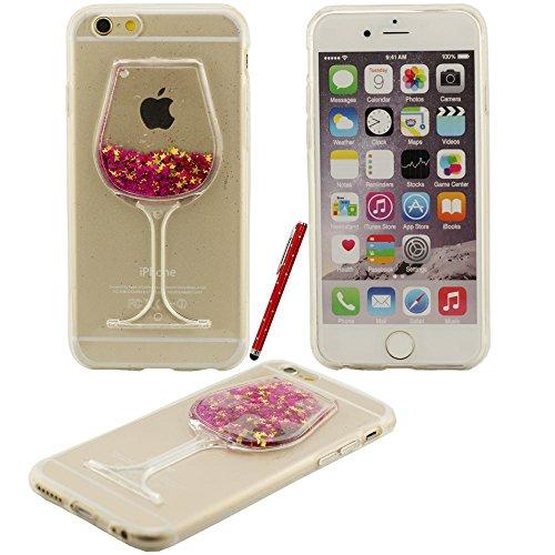 Fließfähige Flüssigkeit Phosphor-Sterne-Weinglas Hartplastik Schutzhülle case für Apple iPhone 6 6S Hülle 4.7 inch mit Touch-Screen-Stift rot