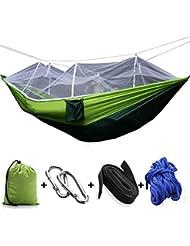 StillCool Hamac de Camping avec Moustiquaire 200kg Capacité de charge,(260 x 130cm) Parachute Double Hamac en Tissu Portable pour Voyage Camping Hiking Randonnée