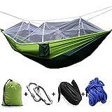 StillCool Hamac de Camping avec Moustiquaire 200kg Capacité de charge,(260 x 130cm) Parachute Double Hamac en Tissu Portable pour Voyage Camping Hiking Randonnée (Vert claire & vert foncé)