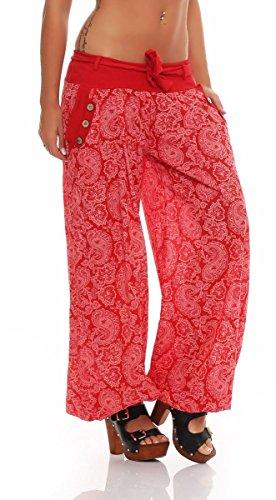malito Damen Pumphose mit Orient Print | leichte Stoffhose | Freizeithose für den Strand | Haremshose �?luftig 3488 Rot