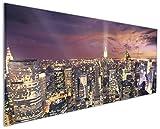 Wallario Küchen-Rückwand | Glas mit Motiv New York bei Nacht - Panoramablick über die Stadt in Premium-Qualität: Brillante Farben, ohne Aufhängung | geeignet zum Verkleben |Spritzschutz Küche Herd Spüle | abwischbar | pflegeleicht