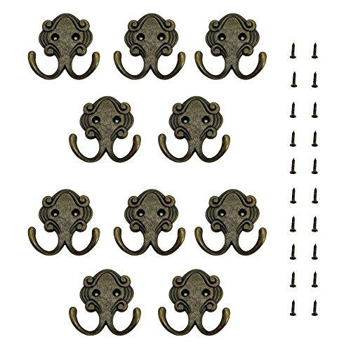 JTDEAL Gancho doble (10 unidades), perchero de pared ganchos sombrero perchero de pared perchero para puerta con tornillos nunca óxido Vintage de aleación de zinc sólido resistente para baño y cocina