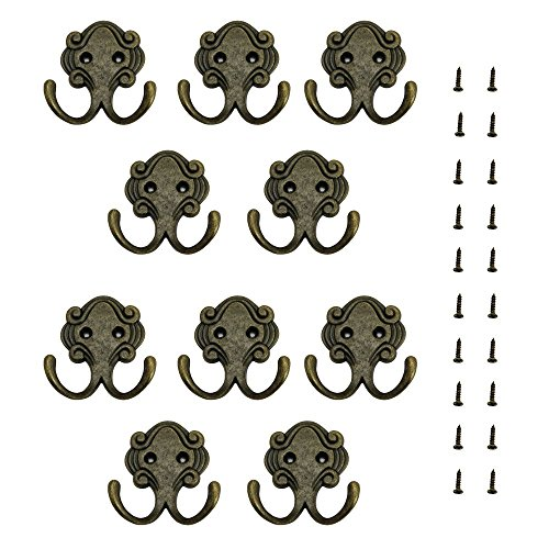 JTDEAL 10 Piezas Ganchos de Hogar/Oficina, Percha de Pared de Aleación de Zinc con Tornillos, Antioxidante, Estilo Retro, Forma de Marfil, para Colgar Ropa Abrigo, Colgadores de Puerta Organizador.