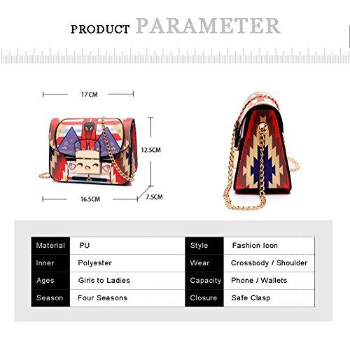 Sacchetti alla moda catena geometrica cartoon cartoon colorato Yoome per ragazze borse piccole per le donne - rosso arancia