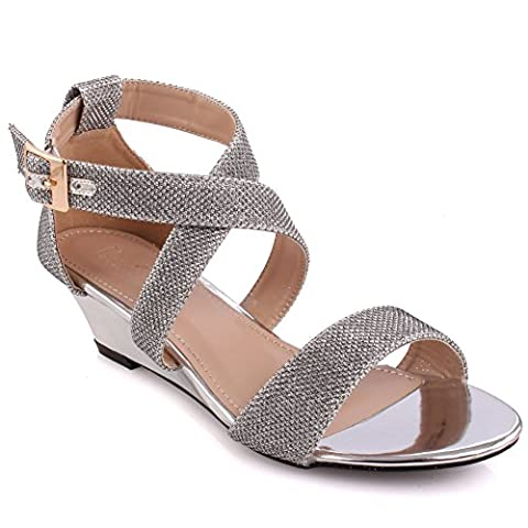 Unze Femmes 'Tribute' Glittery Strappy Basse Mid Wedge Talon Party Prom Get Together Carnaval Evening Wedding Sandales talons Chaussures Royaume-Uni Taille 3-8