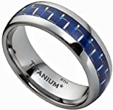 Titanium Ring - Blue Carbon Inlay Mens Titanium Wedding Engagement Band Ring- Size Q - Comes In A Luxury Gift Box - ( Available In Most Sizes)