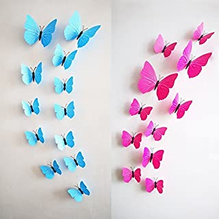 AWAKINK 24 pcs 3D Butterfly Stickers Random Mixed Packing Home Decoration DIY Removable Butterfly Decor Wall Stickers for Kids Room Bedroom Living Room Decor (Pink + Blue) by AWAKINK